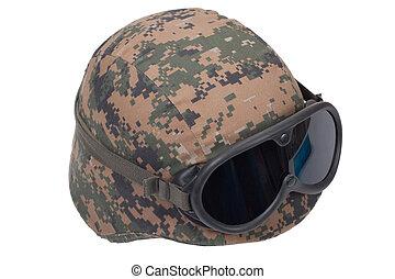 kevlar, protetor, capacete, cobertura, camuflagem, óculos...