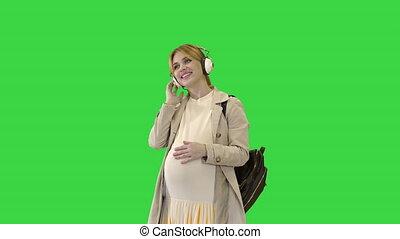 key., écran, chroma, femme, vert, musique, debout, pregnant...