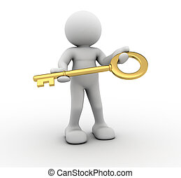 Key - 3d people - human character with a key - This is a 3d...