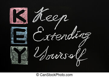 KEY acronym -Keep extending yourself on a blackboard with words written in chalk.