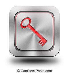 Key aluminum glossy icon, button