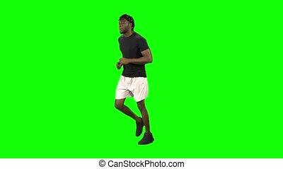key., américain, homme, écran, chroma, africaine, vert, courant