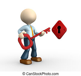 Key and a keyhole - 3d people - man, person with a key and a...