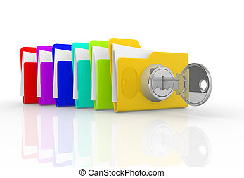 Key and folders - Key and the stack of folders. This is a 3d...