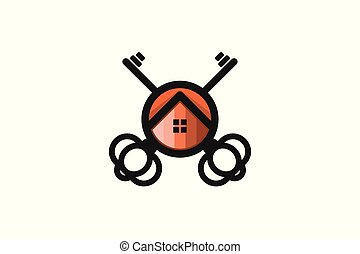 key and house home, security logo inspiration isolated on white background
