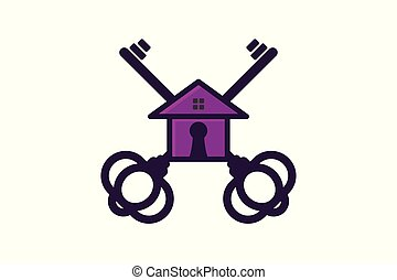 Key and house, house security logo Designs Inspiration Isolated on White Background