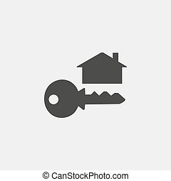 key and house icon in a flat design in black color. Vector illustration eps10