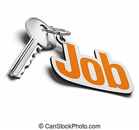 key and job keyring over a white background, the word job is...