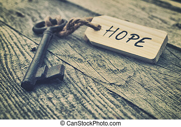 Hope - Key and label. Hope concept