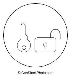 Key and lock  icon black color in circle