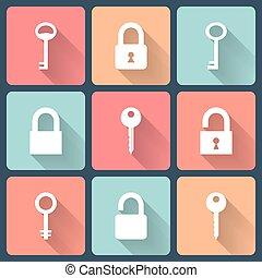 Key and padlock flat icons set