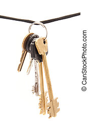 Key and rope on a white background