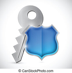 key and security shield illustration design