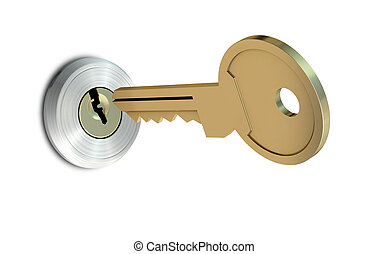 Key Approaching Empty Slot - A dead bolt lock shield with a...