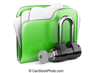 key., büroordner, grün, sicher, files.