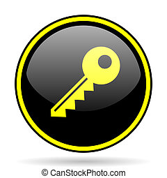 key black and yellow glossy internet icon