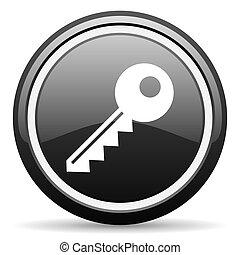 key black glossy icon on white background