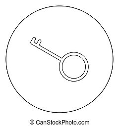Key black icon in circle vector illustration isolated .
