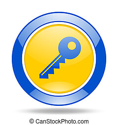 key blue and yellow web glossy round icon