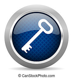 key blue circle glossy web icon on white background, round button for internet and mobile app