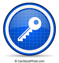 key blue glossy icon on white background