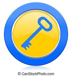 key blue yellow icon secure symbol