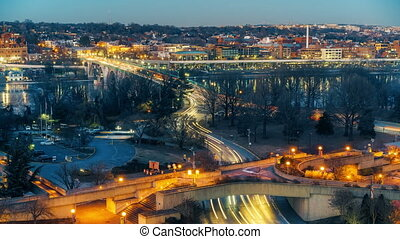 Key bridge at night in Washington DC - View on Key bridge at...