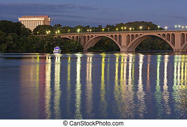 Key Bridge before sunrise in Washington DC, USA.