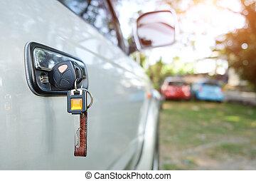 key., buco, chiudere, chiave, su, moderno, automobile, ignition., cominciando, macro