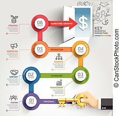 Key business marketing timeline infographic template. Vector illustration. can be used for workflow layout, banner, diagram, number options, web design.