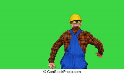 key., chroma, ouvrier, casque, vert, écran, danse, construction