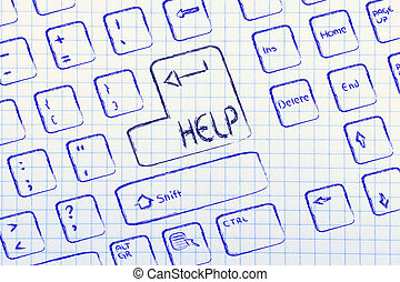 key:, computer, aiuto, speciale, tastiera