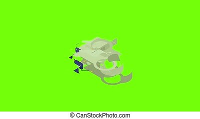 Key connector icon animation cartoon object on green screen background