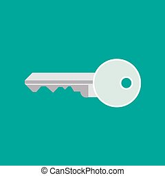 Key door vector safety icon. Protection secure house shape closeup isolated. Simple metal flat symbol