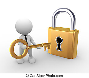 Key - 3d people - man, person open a lock with a key.