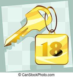 Key - Illustration of a key  with 18 in key locket