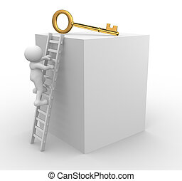 Key - 3d people - men, person climbing to a golden key.