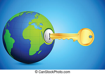 Key entering Globe - illustration of key entering in key...