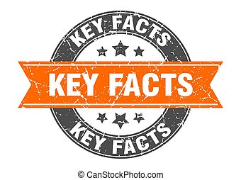 key facts round stamp with ribbon. label sign - key facts ...
