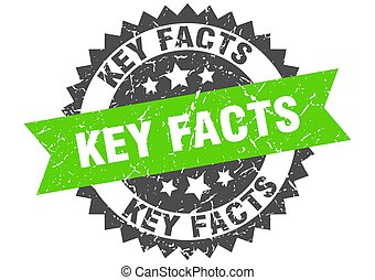key facts stamp. grunge round sign with ribbon - key facts ...