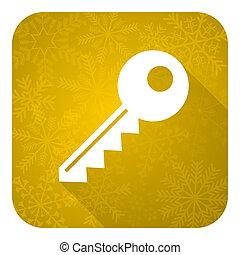 key flat icon, gold christmas button