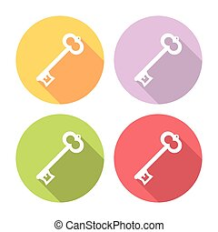 Key Flat Icons Set