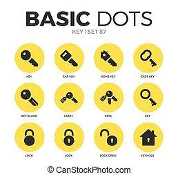 Key flat icons vector set