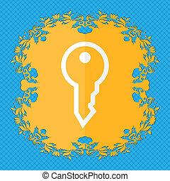 key., floral, plat, conception, sur, a, bleu, résumé, fond, à, endroit, pour, ton, text.