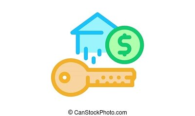 key from bought house Icon Animation. color key from bought house animated icon on white background