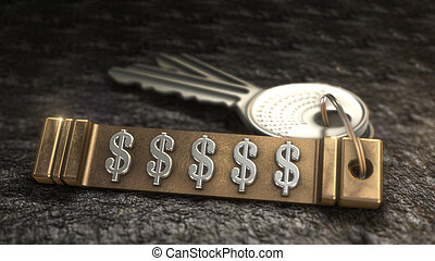 dollar sign Concept - Key from dollar sign Concept. Keys...