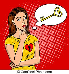 Key from female heart metaphor pop art retro vector illustration. Comic book style imitation.