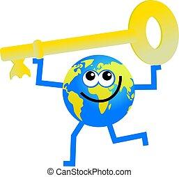 key globe - cartoon globe man holding a golden key