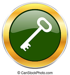 Key green glossy round icon with golden chrome metallic border isolated on white background for web and mobile apps designers.
