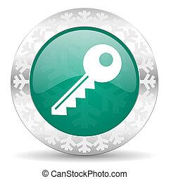 key green icon, christmas button